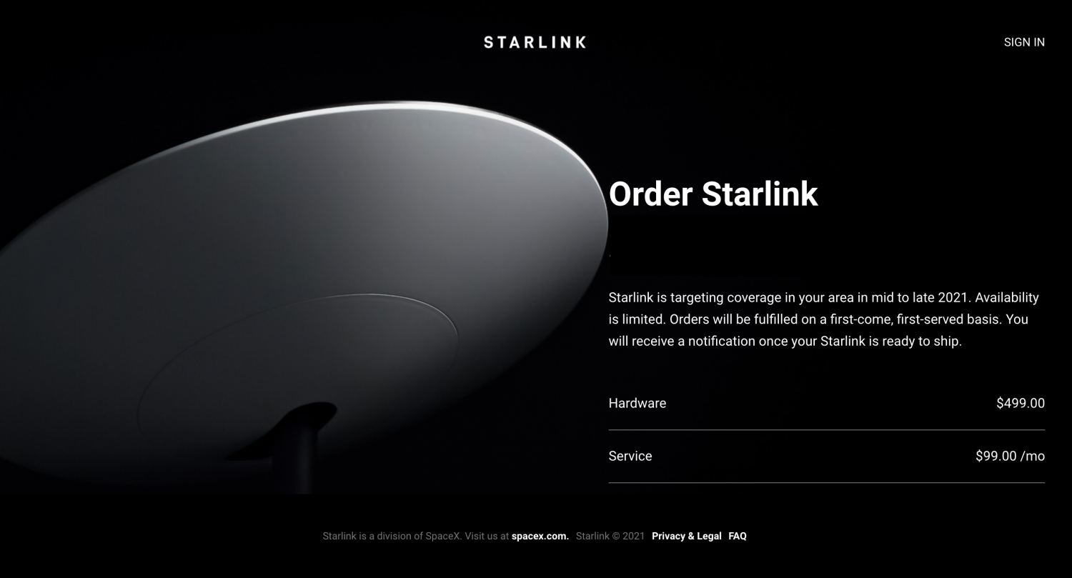 elon musks starlink internet service accepting