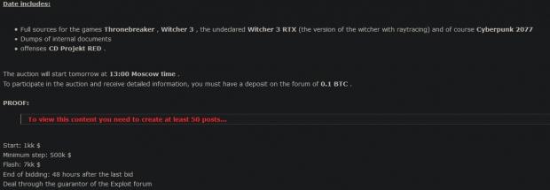 Cyberpunk 2077 source code on auction, hackers demand Bitcoin ransom 04 | TweakTown.com