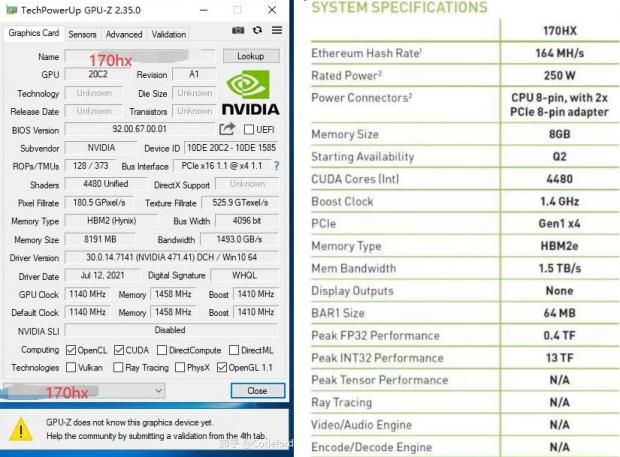 NVIDIA CMP 170HX crypto mining card teased: insane 164MH/s hash rate! 04   TweakTown.com